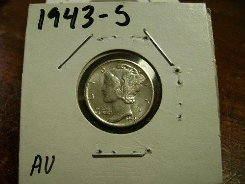 1943-S AU Mercury Dime Free Shipping