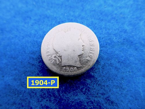 1904-P   BARBER DIME ☆  CIRCULATED ☆    (#3521)•