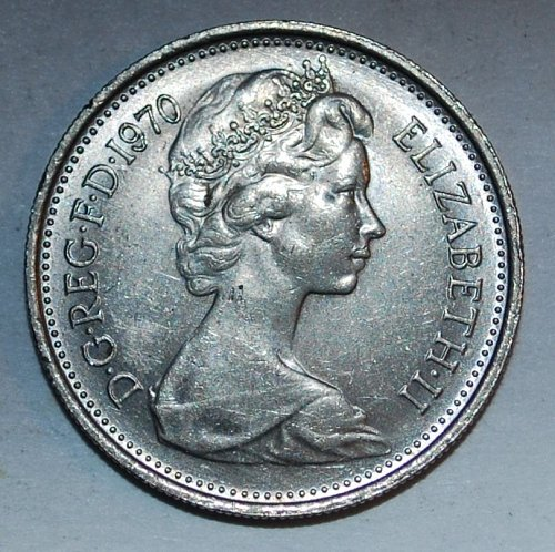 Great Britten 5 new pence 1970