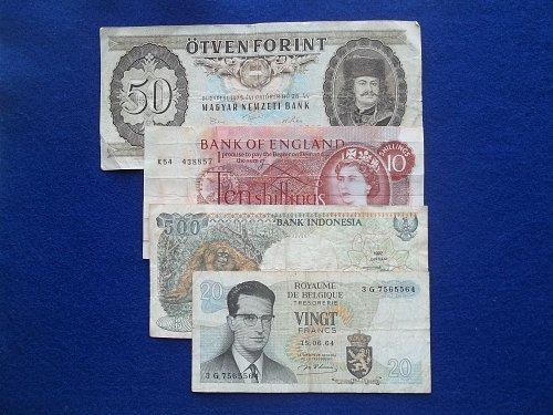 LOT 4 PIECE ASSORTED low grade WORLD PAPER MONEY