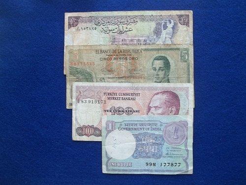 LOT 4 PIECE ASSORTED low grade WORLD PAPER MONEY #2
