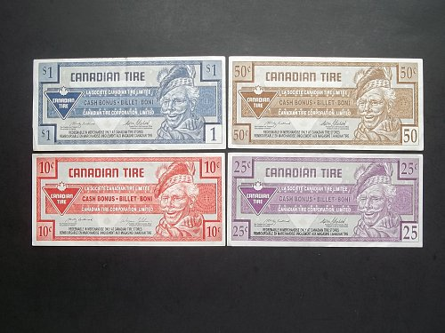 LOT 4 PIECE SET OF CANADIAN TIRE COUPONS