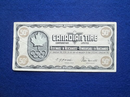CANADIAN TIRE VINTAGE 50 CENT SERVICE COUPON  OLYMPIC ISSUE