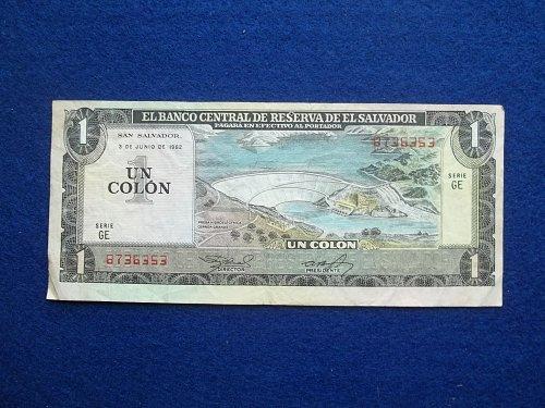 EL SALVADOR 1982 1 COLON  WORLD PAPER MONEY