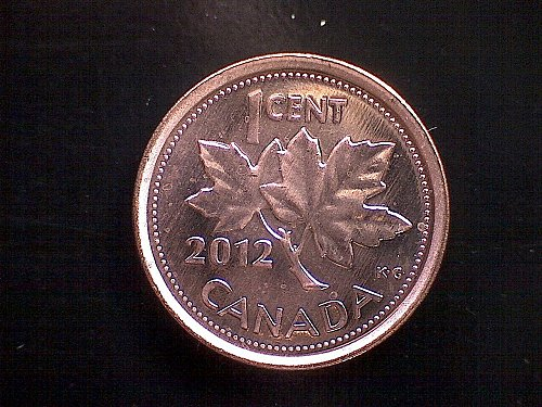 """2012-RCM CANADA ONE CENT QUEEN ELIZABETH 11 """"NON-MAGNETIC"""" THE LAST SMALL CENT"""