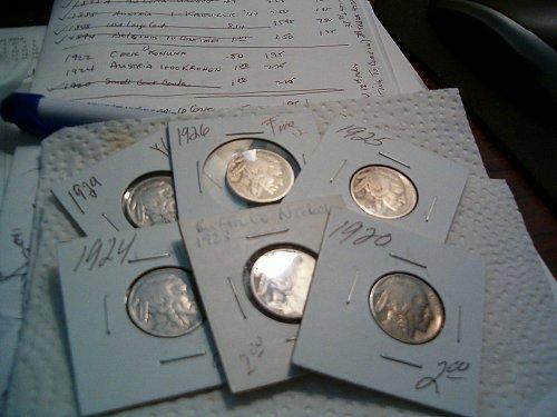 6- buffalo nickels,1920,23,24,25,26,29..nice no juck
