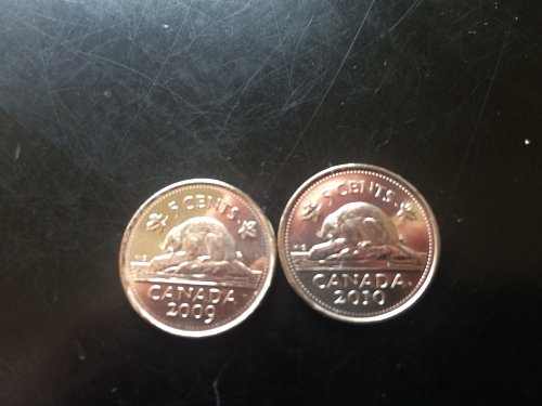 2009 & 2010 BRILLIANT BU CANADIAN NICKELS