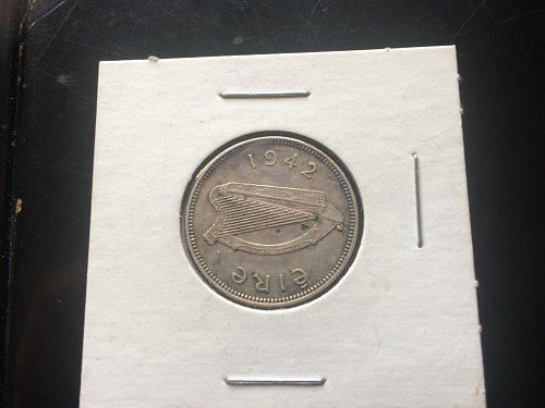 1942 ONE SHILLING EIRE IRELAND .750 SILVER.