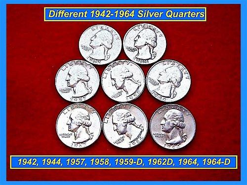 8 Silver Quarters  1942 44 57 58 59-D 62-D 64 & 1964-D ✬ (#2296)➤