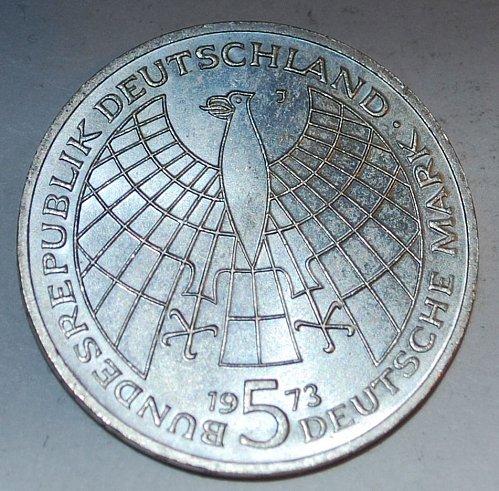 Germany 5 mark 1973 j sliver