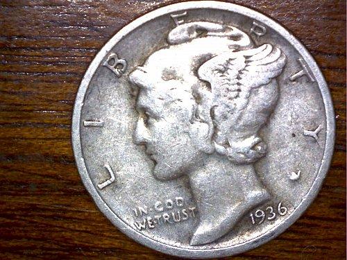 1936D dime, 90% Silver