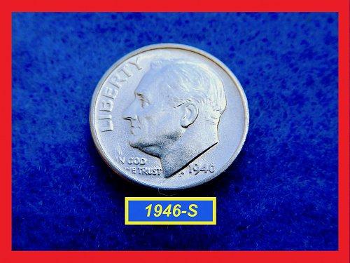 """1946-S Roosevelt Dime ★  Nice """"AU-50"""" Coin ★ (#3520a)√"""