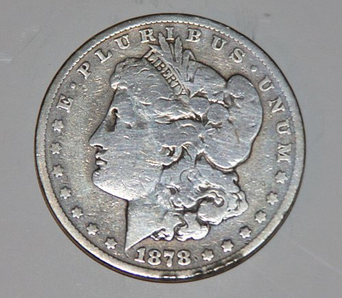 1878 MORGAN SILVER DOLLAR REV OF 1879 7 FEATHER SLANTED ARROW ROUNDED BREAST...V