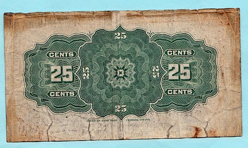 Dominion of Canada  dated  1-2- 1900    25 cent note   /   BW3
