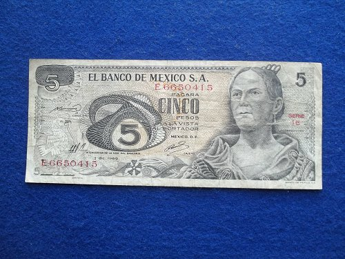 MEXICO 1969  5 PESOS WORLD PAPER MONEY