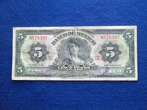 MEXICO 1954  5 PESOS WORLD PAPER MONEY