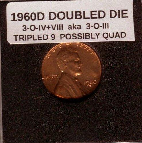 1960D DOUBLED DIE 3-O-IV+VIII aka 3-O-III TOP 100 COIN BU