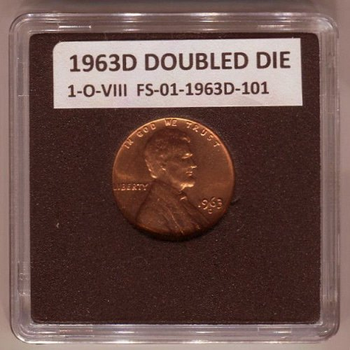 1963D DOUBLED DIE 1-O-VIII FS-01-1963D-101 UNCIRCULATED CHERRY PICKERS COIN