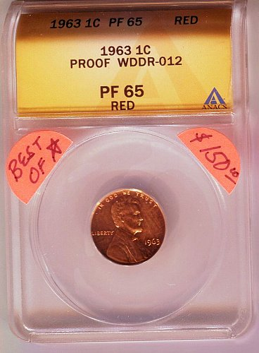 """1963 PROOF LINCOLN CENT CERTIFIED PROOF 65 RED DOUBLED DIE WDDR-012 """"BEST OF"""" CO"""