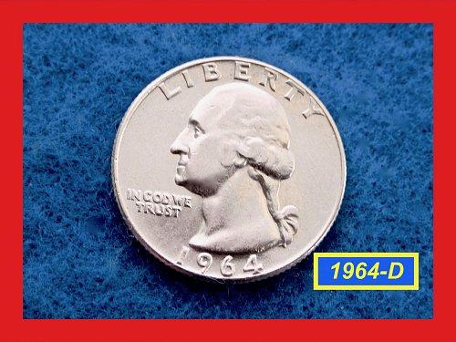 """1964-D   Washington SILVER Quarter  ★   """"AU"""" Condition  ★(#2555)"""