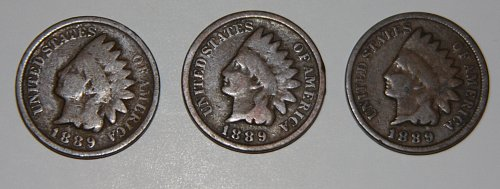 LOT OF 3 COLLECTIBLE U.S. 1889 INDIAN HEAD PENNIES.....G+......