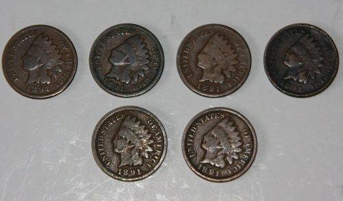 LOT OF 6 U.S. 1891 1C INDIAN HEAD PENNIES.....G+......
