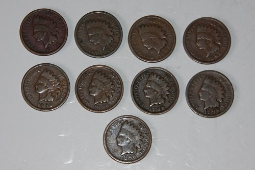 LOT OF 9 U.S. 1896 U.S. 1C INDIAN HEAD PENNIES....G+......