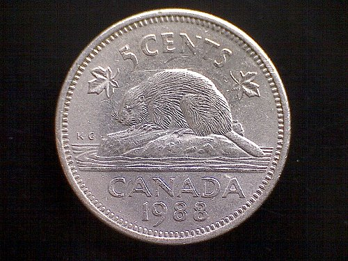 1988 CANADA FIVE CENT QUEEN ELIZABETH 11