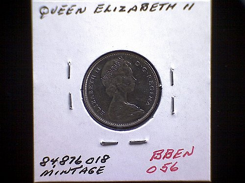 """1965 CANADA FIVE CENTS QUEEN ELIZABETH 11  """"SMALL BEADS"""""""