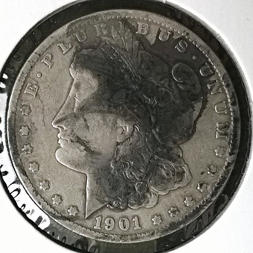 1901 O Morgan Dollar - Black stain on obverse, spilled ink from fountain pen?