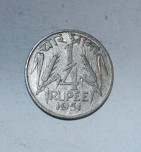 INDIA 1/4 RUPEE 1954   (211)