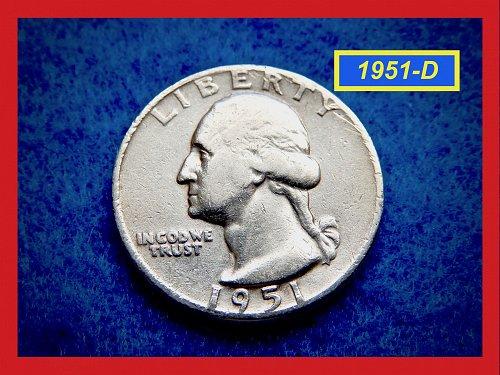 1951-D Washington Quarters ★  CIRCULATED ★  (#2634)√