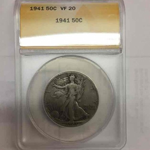 1941 Walking Liberty Eagle 1/2 Dollar Silver Coin ANACS Certified #5073664 Free