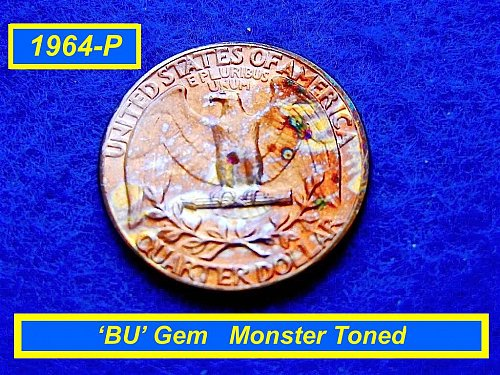 1964-P Washington Quarter ★ Toned & Uncriculated ★  (#2103)a