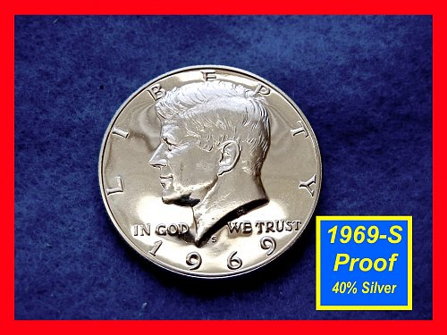 1969-S PROOF  Kennedy Half Cameo ★☆★☆★  40% Silver  (#1635)√