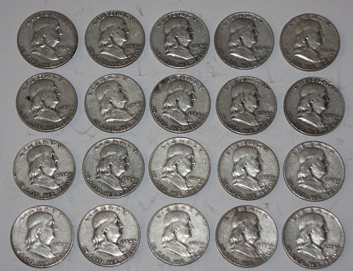 COLLECTIBLE 20 U.S. 1954-P 50C FRANKLIN HALF DOLLARS....G+.....2A....