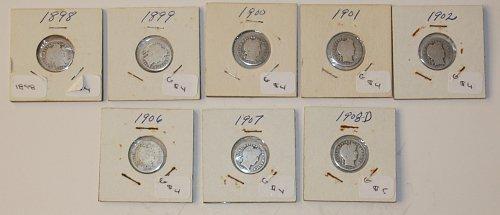 8 STARTER BARBER DIME COLLECTION 1898, 1899, 1900, 1901, 1902, 1906, 1907, 1908-