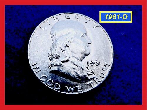 "1961-D Franklin Half ★ ""MS-62"" Uncirculated ★ (#1732)√"