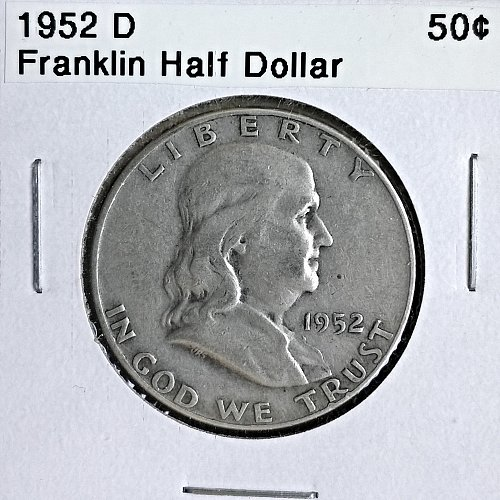 1952 D Franklin Half Dollar - 6 Photos!