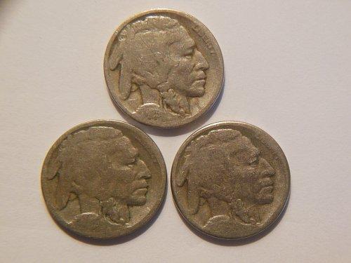 *Set of 3* 1925 P, D, & S Buffalo Nickels