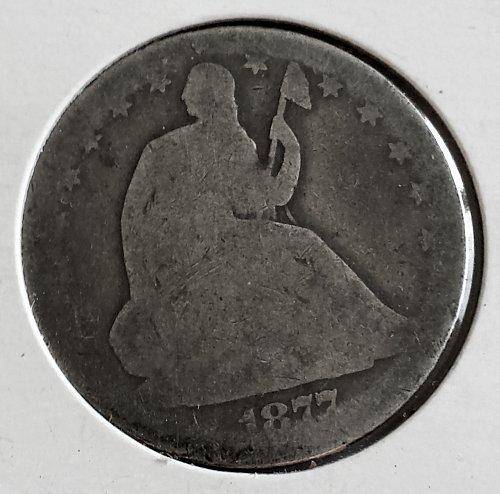 1877 P Seated Liberty Half Dollar Type 4 Resumed - Motto Above Eagle - No Arrows