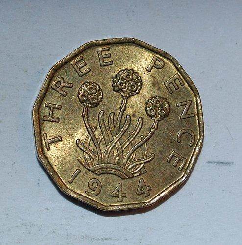 UK Great Britain 3 Pence 1944