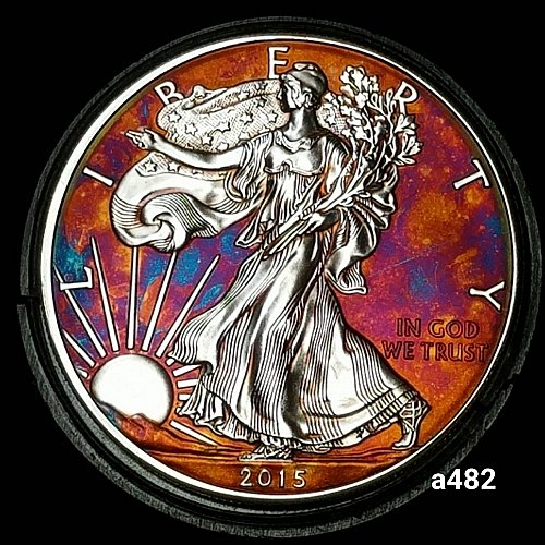 2015 Rainbow Toned Silver American Eagle 1 troy ounce silver Monster toned #a482