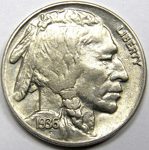 1936 D Buffalo Nickel #1 Reverse is Rotated 10˚ As Shown