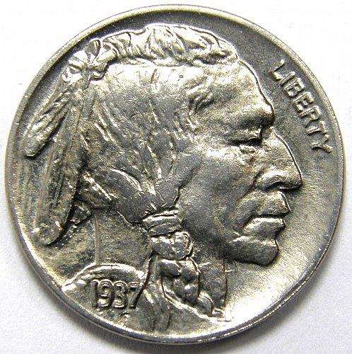 1937 P Buffalo Nickel #2 DIE CLASH