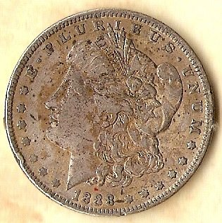 1888 P Morgan Silver Dollar a bit discolored obverse but fine detail & tail feat
