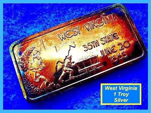 West Virginia 35th State ☆  1 Oz Silver Art Bar (June 20, 1863) ☆ (9105a)√
