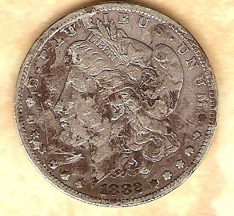 1882 S Morgan Silver Dollar - nice coin except obverse dirty, see reverse detail