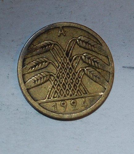 Germany - Weimar Republic 5 Rentenpfennig 5 Pfennig 1924 a