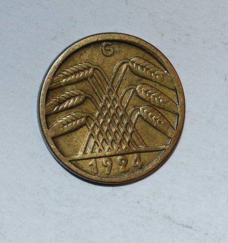 Germany - Weimar Republic 5 Rentenpfennig 5 Pfennig 1924 g